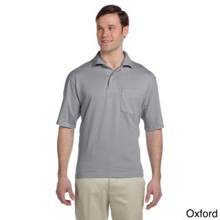 Jerzees Jerzees Mens Clean finished Pocket Polo Sport Jersey Grey Size XXL