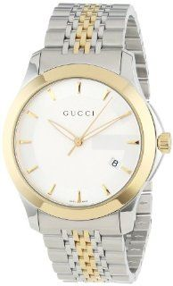 Gucci Men's YA126409 Gucci timeless Steel and Yellow PVD Silver Dial Watch Watches