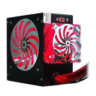 580 Watt 20+4 pin Dual Fan ATX Power Supply with SATA & Red LEDs (Black) Computers & Accessories
