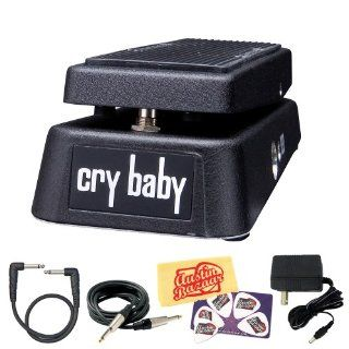 Dunlop Cry Baby Wah Wah Guitar Pedal Bundle with AC Adapter Power Supply, Instrument Cable, Patch Cable, Picks, and Polishing Cloth Musical Instruments