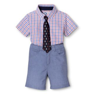 G Cutee Toddler Boys Short Sleeve Checkered Shirt and Short Set w/ Tie