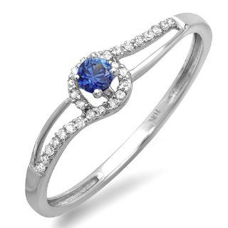 0.16 Carat (ctw) 10k White Gold Round Cut Blue Sapphire And White Diamond Ladies Engagement Bridal Promise Ring Jewelry