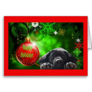 Labrador Retriever  Christmas Card Red Ball12