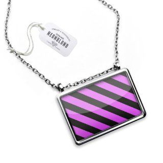 "Necklace ""Pink horizontal stripe design / pattern""   Pendant with Chain   NEONBLOND NEONBLOND Necklace Jewelry"