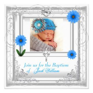 Baby Boy Blue White Christening Baptism Cross Personalized Invite