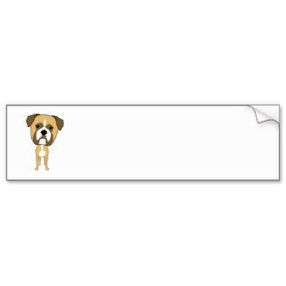 Cute Boxer Dog Cartoon Bumper Stickers