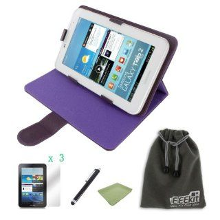 EEEKit for Samsung Galaxy Tab 2 7.0 GT P3113 P3110 P3100 Accessory Bundle, Universal Stand Case for 7 inch Tablet(Purple) + Universal Stylus Pen + 3 Pack Anti Glare Screen Protector + Micro Fiber Screen Clean Cloth + EEEKit Protective Storage Pouch(6.5*4 i