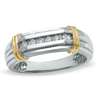 Mens 1/10 CT. T.W. Diamond Wedding Band in 14K Two Tone Gold   Zales