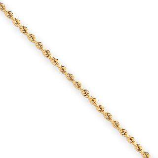 2mm, 10 Karat Yellow Gold, Diamond Cut Rope Chain   22 inch Chain Necklaces Jewelry