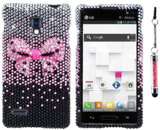 The Friendly Swede (TM) Rhinestone 3D Bling Case for LG Optimus L9 (T Mobile) Only + Crystal Stylus + Screen Protector + Tool in Retail Packaging (Black and Hot Pink Bow Tie) Cell Phones & Accessories