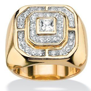 Royal Palm Jewelry 500588 Men's Princess Cut and Round Cubic Zirconia 14k Gold Plated Octagon Shaped Ring   Size 8 Rings For Men Jewelry