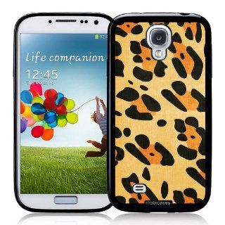 Leopard Pattern Orange   Protective Designer BLACK Case   Fits Samsung Galaxy S4 i9500 Cell Phones & Accessories