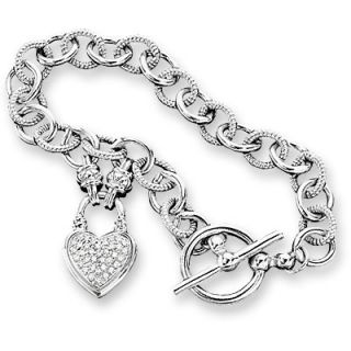 CT. T.W. Diamond Heart Charm Bracelet in Sterling Silver   Zales