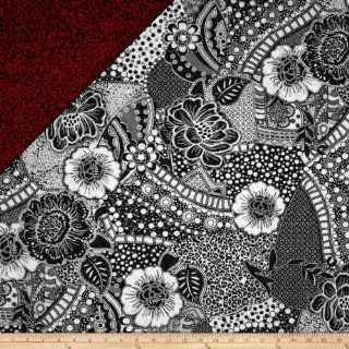 Black Tie Affair Double Sided Quilted Floral Black/Grey Fabric