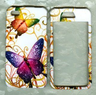 purple butterfly apple iPhone 4 4G faceplate snap hard cover case Cell Phones & Accessories