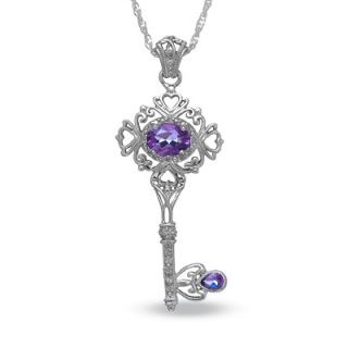 Amethyst Vintage Style Key Pendant in Sterling Silver with Diamond