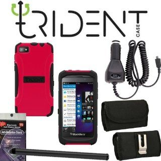 Trident Aegis Red Heavy Duty Protective Tough Case for Blackberry Z10 Bundle Pack   5 items. Hard Shell and Silicone Gel, with Screen Protector and Car Charger, Stylus Pen, Radiation Shield and Horizontal Metal Clip Case that fits your phone with the Cover