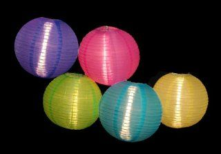 Set of 5 Asian Fusion Colorful Chinese Lantern Garden Patio Lights   White Wire   String Lights