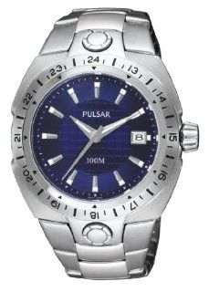 Mens Pulsar Stainless Steel Blue Dial Date 24 Hr Time 10ATM Casual Watch PXH641 at  Men's Watch store.