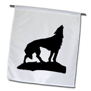fl_46608_1 Florene Black and White   Howling Wolf In Black Silhouette   Flags   12 x 18 inch Garden Flag  Outdoor Flags  Patio, Lawn & Garden