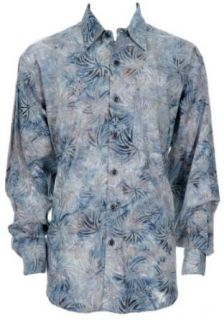Johari West Men's Java Sky Blue Tropical Hawaiian Aloha Cotton Shirt L at  Men�s Clothing store