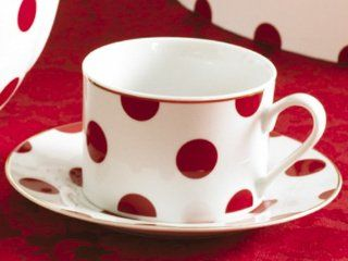 Rosanna Red Dots Gift boxed Teacups and Saucers, Set of 4 Kitchen & Dining