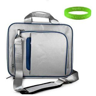 High Quality Gray with Blue Trim Messenger Carrying Case for Toshiba Satellite 15.6 Inch LED Laptop (L755 S5271 , P755 S5274 , C655D S5134 , C655D S5230 , P755 S5270) + Vangoddy Live*Laugh*Love Wristband Computers & Accessories