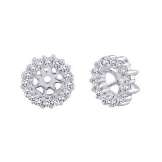 14K White Gold 1/4 ct. Diamond Earring Jackets Katarina Jewelry