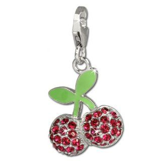 SilberDream Charm green enameled cherries with red Zirconia, 925 Sterling Silver Charms Pendant with Lobster Clasp for Charms Bracelet, Necklace or Earring FC667 SilberDream Jewelry
