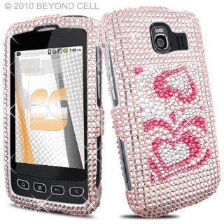 LG Optimus S U LS670 LS 670 UX 670 UX670 Cell Phone Full Crystals Diamonds Bling Protective Case Cover Silver with 3D Pink Love Hearts Spade Design Cell Phones & Accessories