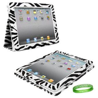 Black & White Zebra iPad Skin Cover Case Stand with Screen Flap and Sleep Function for all Models of Apple iPad NEW (3rd Generation, wifi , + AT&T 3G , 16 GB , 32GB , MC770LL/A , MC980LL/A , MC916LL/A, ect) + Live * Laugh * Love Vangoddy Trademar