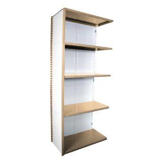 "Equipto 673 5A V Grip 18 Gauge Heavy Duty Steel Closed Shelf Add On Unit with 5 Shelves, 700 lbs Shelf Capacity, 36"" Width x 84"" Height x 18"" Depth, Putty Tool Utility Shelves"