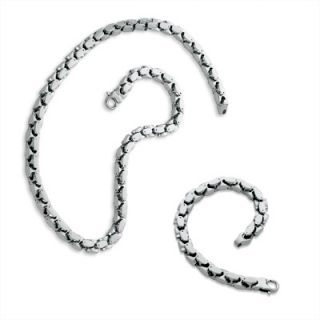 Mens Stainless Steel Heavy Link Necklace and Bracelet Set   Zales