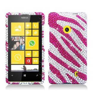 Aimo NK521PCLDI686 Dazzling Diamond Bling Case for Nokia Lumia 521   Retail Packaging   Zebra Hot Pink with White Cell Phones & Accessories