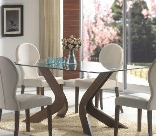 San Vicente Beveled Glass Top Walnut Brown Pedestal Dining Table   Round Glas Table