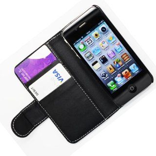 WalkNTalkOnline   Apple iPhone 4 4G & iPhone 4S Black Executive Specially Designed Leather Book Wallet Case With Credit Card/Business Card Holder Cell Phones & Accessories