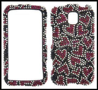 LG MS690 Optimus M Full Diamond Blings Cover Case Black with Red Hearts Shape Design + Clear Screen Protector Cell Phones & Accessories