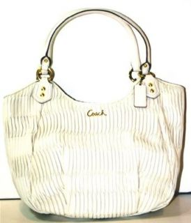 Coach Ashley Gathered Leather Shoulder Tote F23298 White Oak Off White Ivory Cream Shoulder Handbags Shoes