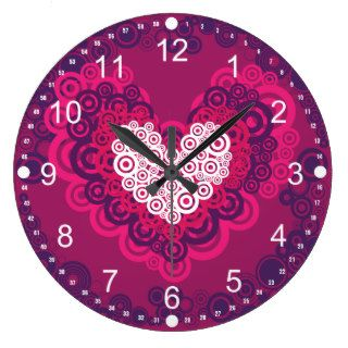 Cool Hearts Circle Pattern Hot Pink Purple Clocks