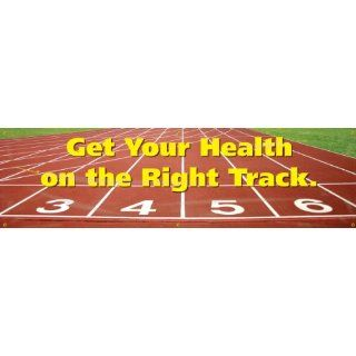 "Accuform Signs MBR708 WorkHealthy Reinforced Vinyl Banner ""Get Your Health on the Right Track"" with Metal Grommets, 28"" Width x 8' Length Industrial Warning Signs"