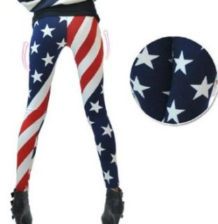 New Fashion Women USA American Flag Stripe Space Star Print Leggings Clothing