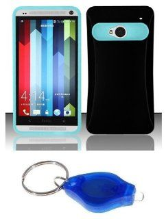 Black / Light Blue Two Tone Color Glow in the Dark Hybrid Case + Atom LED Keychain Light for HTC One M7 Cell Phones & Accessories