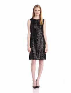 Anne Klein Women's Sequin and Jersey Shift Dress, Black, 2
