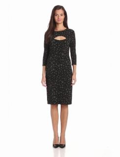 KAMALIKULTURE Women's 3/4 Sleeve Strapless Dress With Slit At Bust, Black/GR Oval Dot, X Small