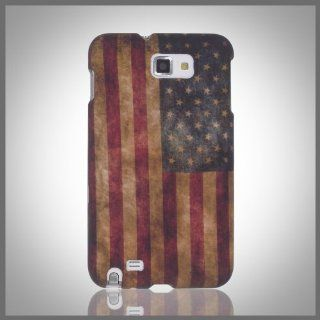Design by CellXpressionsTM Retro Old Vintage Worn Antique Weathered USA US American Flag cool hard case cover for Samsung Galaxy Note i9220 N7000 Cell Phones & Accessories