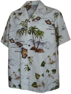 Vintage Hawaiian Maps Hawaiian Shirts   Mens Hawaiian Shirts   Aloha Shirt at  Men's Clothing store Button Down Shirts