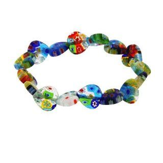 Sterling Silver Millefiori Venetian Glass Heart Bracelet Jewelry