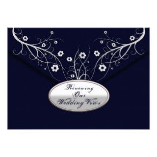 Renewing Wedding Vows   Invitations  Navy Floral Personalized Invitation