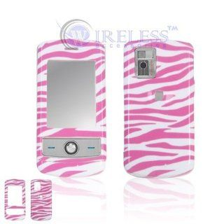 LG CU720 Shine Cell Phone Pink/White Zebra Design Protective Case Faceplate Cover