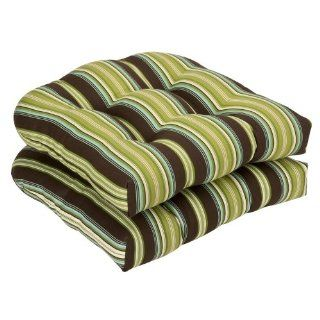 Pillow Perfect Indoor/Outdoor Brown/Green Striped Wicker Seat Cushions, 19 Inch Length, 2 Pack   Patio Furniture Cushions